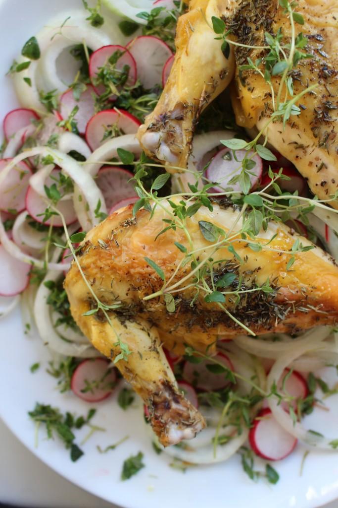 kylling med radiser, løg og timian