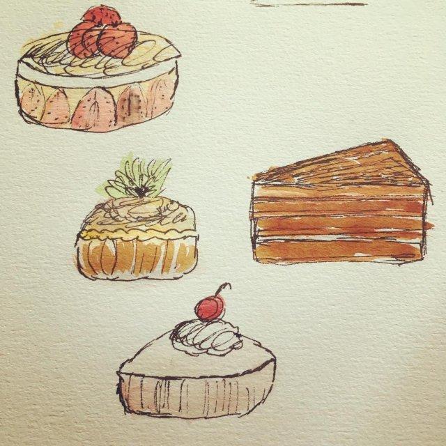 Ny slankekur tegn kager i stedet for at bage watercolorhellip